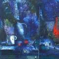 Ильина В.А. «Прогулка по синему городу», холст, масло, 110х80.