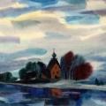 Рожко В.И. «Пейзаж с церковью», бумага, акварель, 1994г.