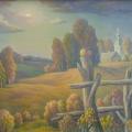 Сушкевич В.Б. «Пейзаж с красным яблоком», холст, масло, 55х70см