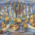 Соболев Ф.А. «Эскиз декорации к спектаклю», картон, смешанная техника, 80х60 см.
