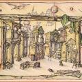 Соболев Ф.А. «Эскиз декорации к спектаклю», картон, смешанная техника, 1993г.