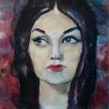 Щербаков В.Д. «Женский портрет (Незнакомка)», бумага, акварель, 56х80 см, 1972 г.