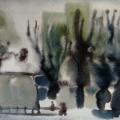 Щербаков В.Д. «Пушистая зима», бумага, акварель, 1987 г.