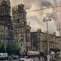«Минск. Привокзальная площадь.», бумага/акварель, 71х51 см. 1969 г.