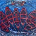 Щербаков В.Д. «Лодки», холст, масло, 1972 г.